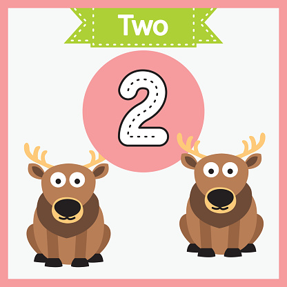 Baby learning cards with numbers and animals. Learning to count and to write numbers. Handwriting practice sheet. Educational game for children. Number 2 with deer