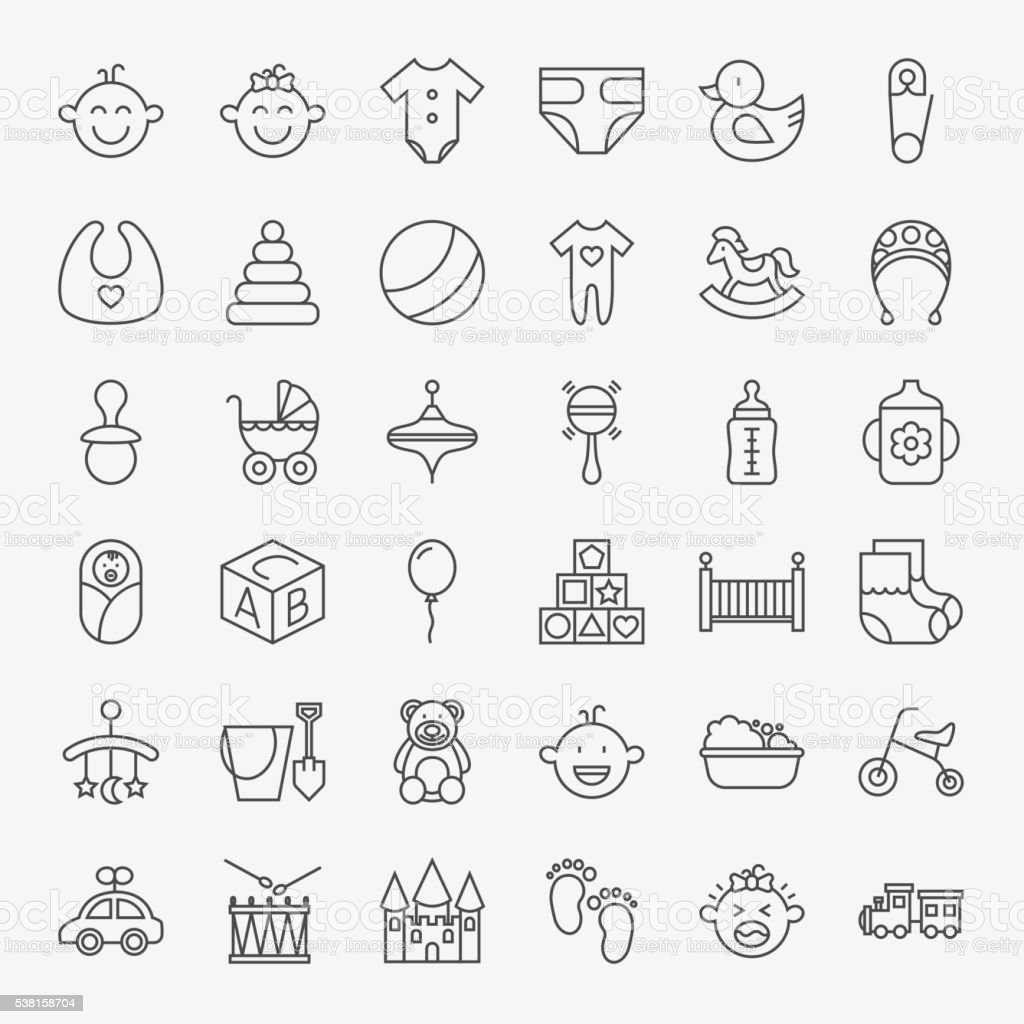 Baby Line Art Design Icons Big Set vector art illustration