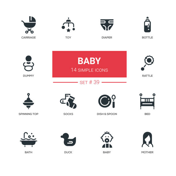 baby - linie design icons set - entenhaus stock-grafiken, -clipart, -cartoons und -symbole