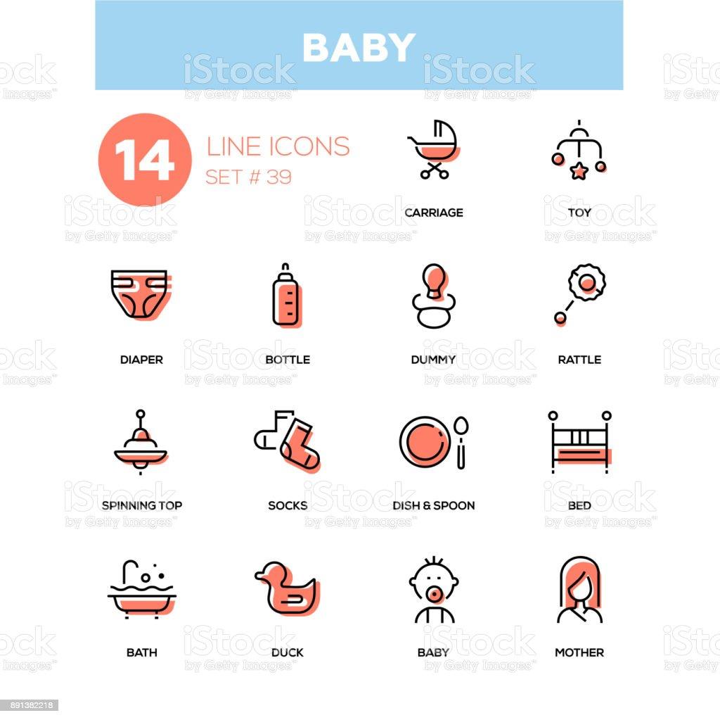 Baby - line design icons set