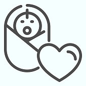 istock Baby line icon. Baby health vector illustration isolated on white. Baby and a heart outline style design, designed for web and app. Eps 10. 1200125721