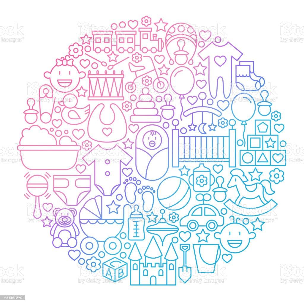 Bébé ligne icône cercle Design - Illustration vectorielle