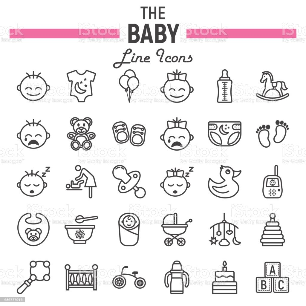 Baby line icon set, kid symbols collection, vector sketches, logo illustrations, linear pictograms package isolated on white background, eps 10. vector art illustration