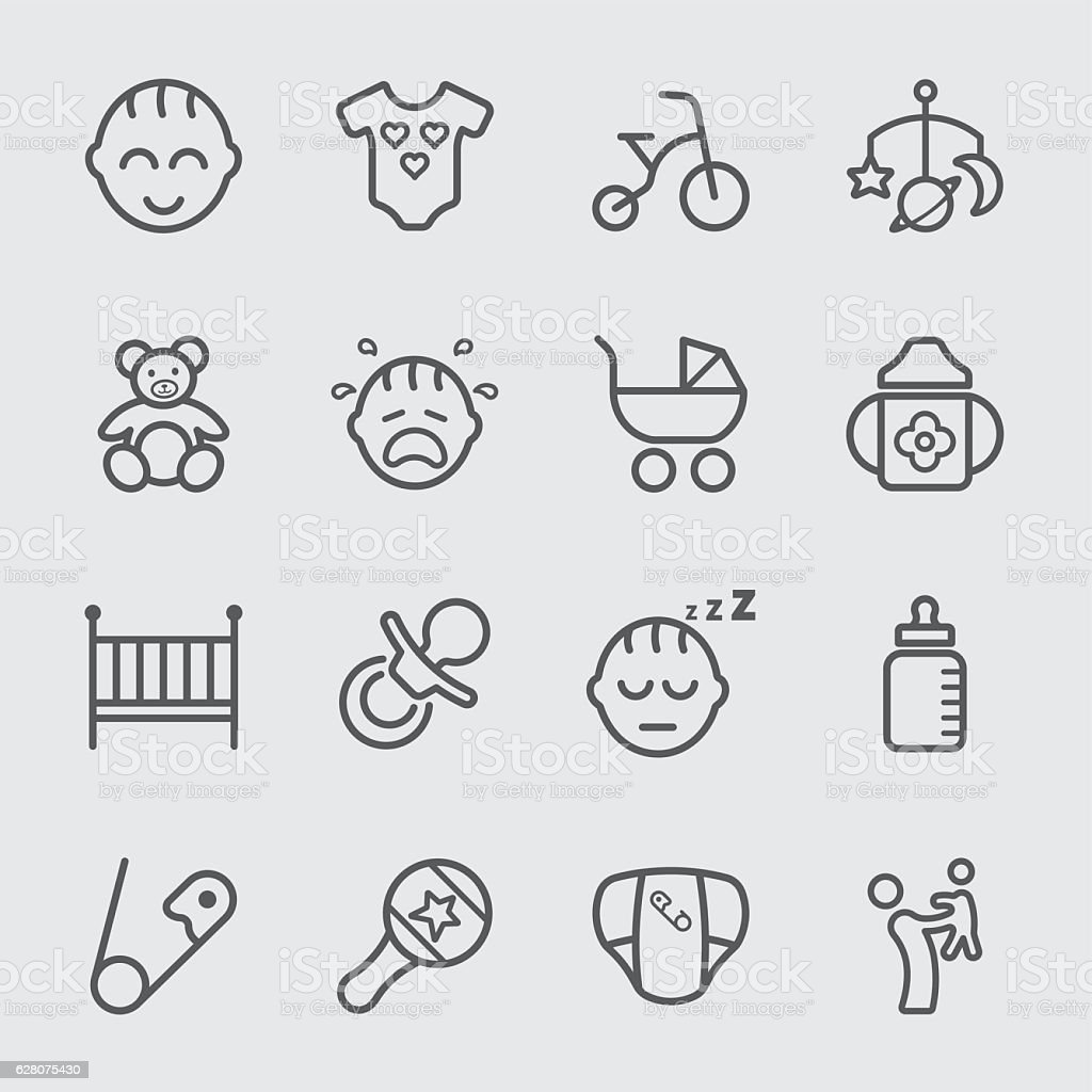 Baby line icon vector art illustration