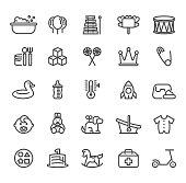 Vector Set of Newborn Line Icons with bath, balloon, Birthday, rabbit symbols
