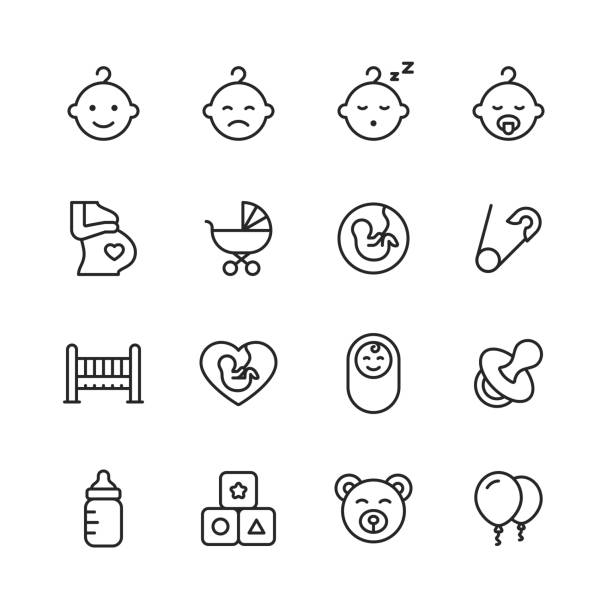 ilustrações de stock, clip art, desenhos animados e ícones de baby line icons. editable stroke. pixel perfect. for mobile and web. contains such icons as baby, stroller, pregnancy, milk, childbirth, teat, parenting. - baby