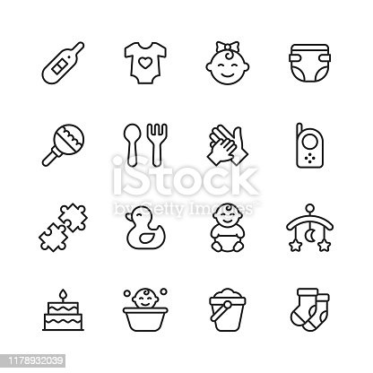 16 Baby Outline Icons.