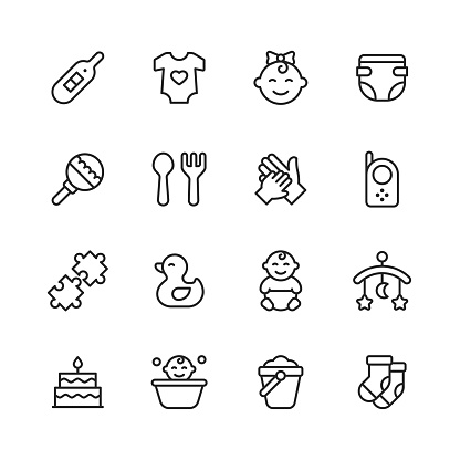Baby Line Icons. Editable Stroke. Pixel Perfect. For Mobile and Web. Contains such icons as Baby, Stroller, Pregnancy, Milk, Childbirth, Teat, Parenting.