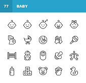 20 Baby Outline Icons.