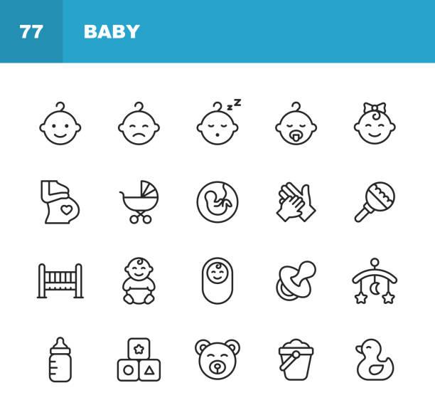 ilustrações, clipart, desenhos animados e ícones de ícones da linha do bebê. acidente vascular cerebral editável. pixel perfeito. para celular e web. contem ícones como o bebê, carrinho de criança, gravidez, leite, parto, teat, parenting, brinquedo do pato, cama. - baby