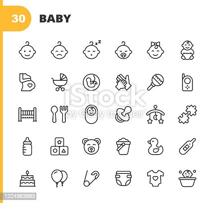 30 Baby Outline Icons. Baby, Child, Pregnancy, Baby Carriage, Childbirth, Rattle, Teat, Diaper, Thermometer, Hand, Cradle, Spoon, Fork, Puzzle, Toy, Duck Toy, Parenting, Milk, Balloon.