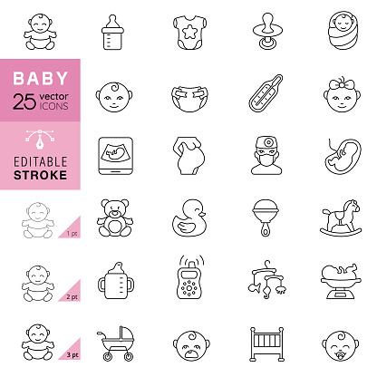 Baby Line Icons. Editable Stroke.