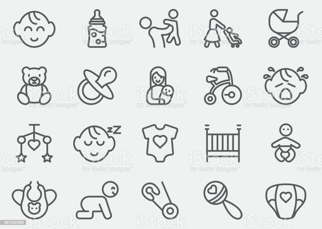 Baby Line Icons | EPS10 - ilustración de arte vectorial