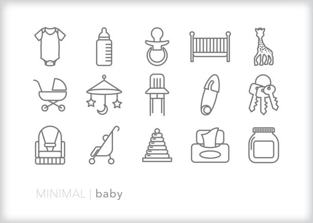 illustrazioni stock, clip art, cartoni animati e icone di tendenza di baby line icons of newborn items such as for baby shower invites - salvietta umidificata