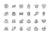 Baby - Line Icons - Vector EPS 10 File, Pixel Perfect 24 Icons.
