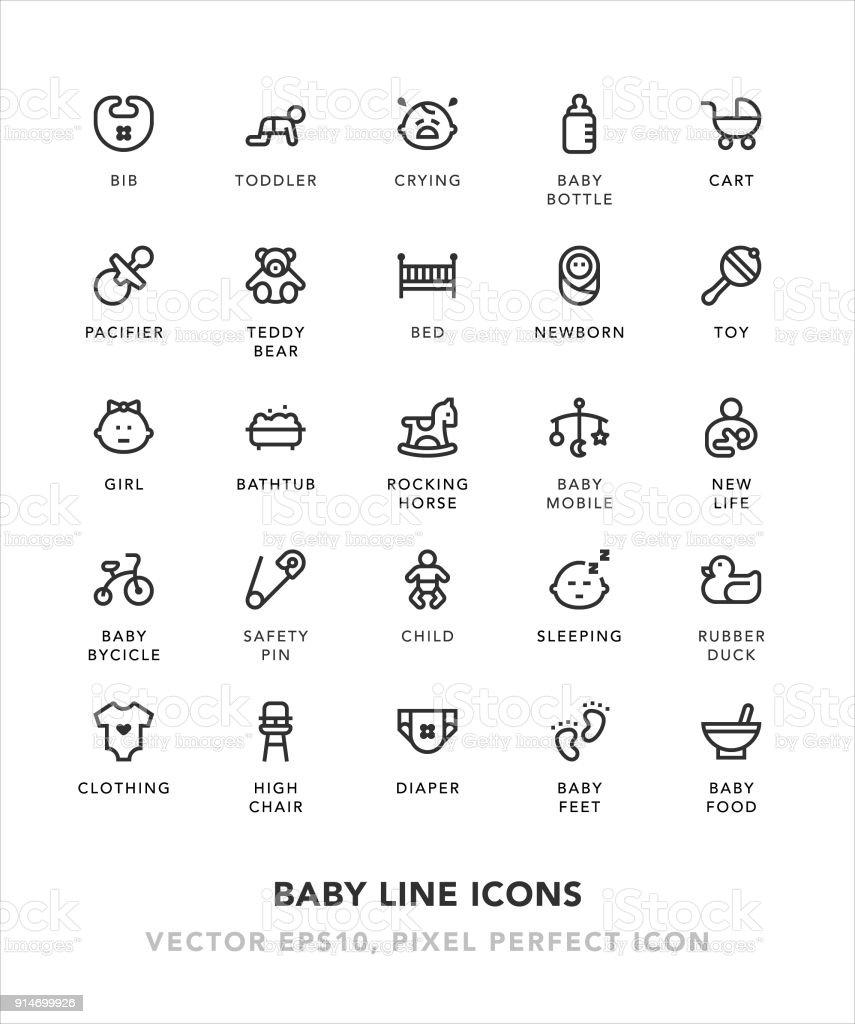 Baby Line Icons
