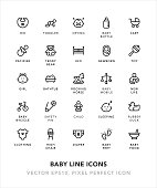 Baby Line Icons Vector EPS 10 File, Pixel Perfect Icons.