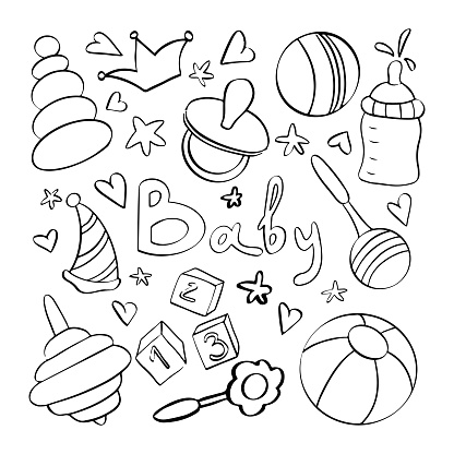 Baby line objects. Hand drawn children toys and items for birthday party or baby shower.