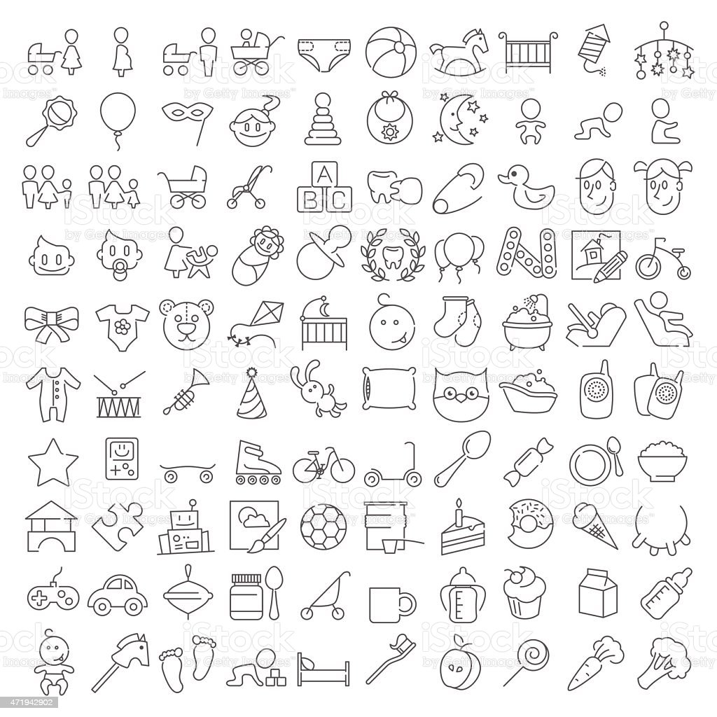 Baby linear icons set vector art illustration