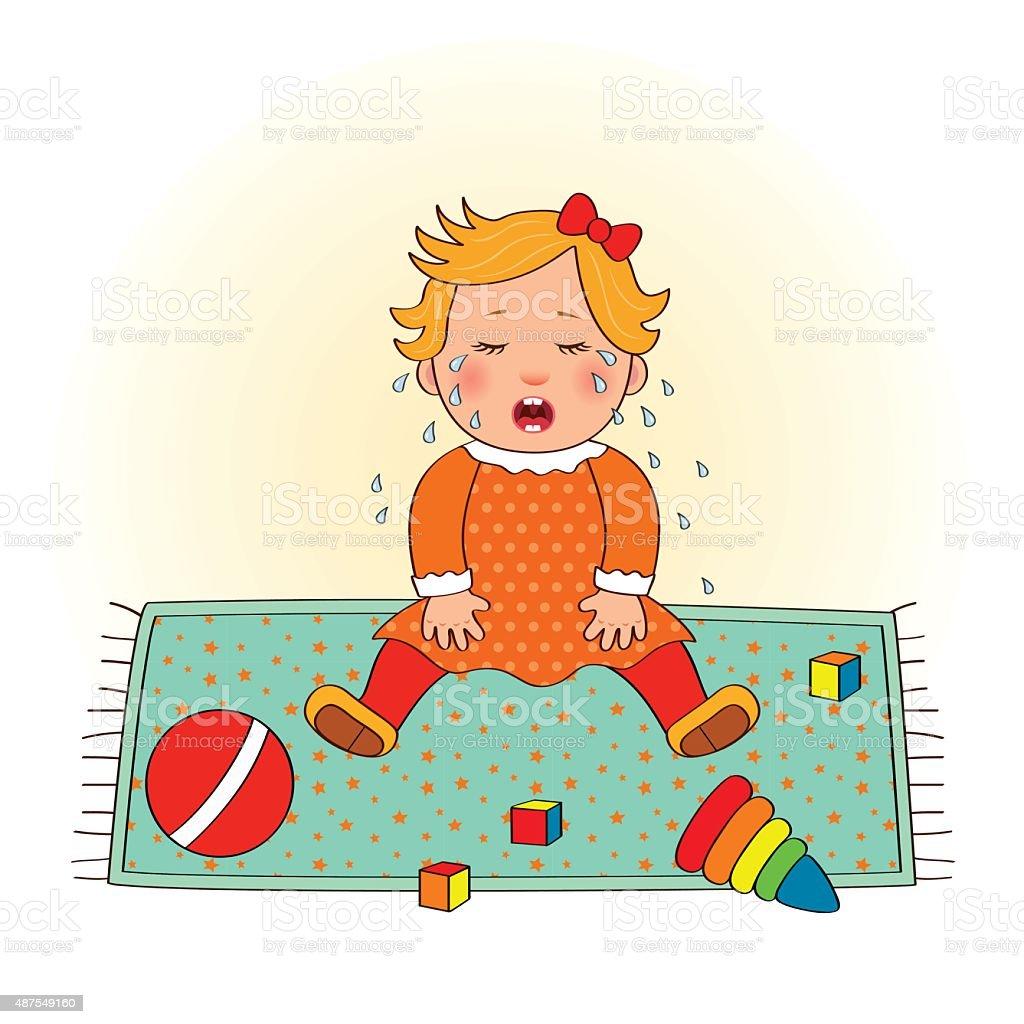 Baby Mädchen Weint Stock Vektor Art und mehr Bilder von 12-23 Monate ...