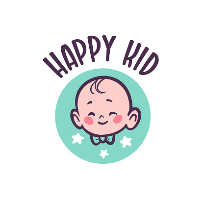 Baby logo with infant character head in bow tie smiling isolated on white background.