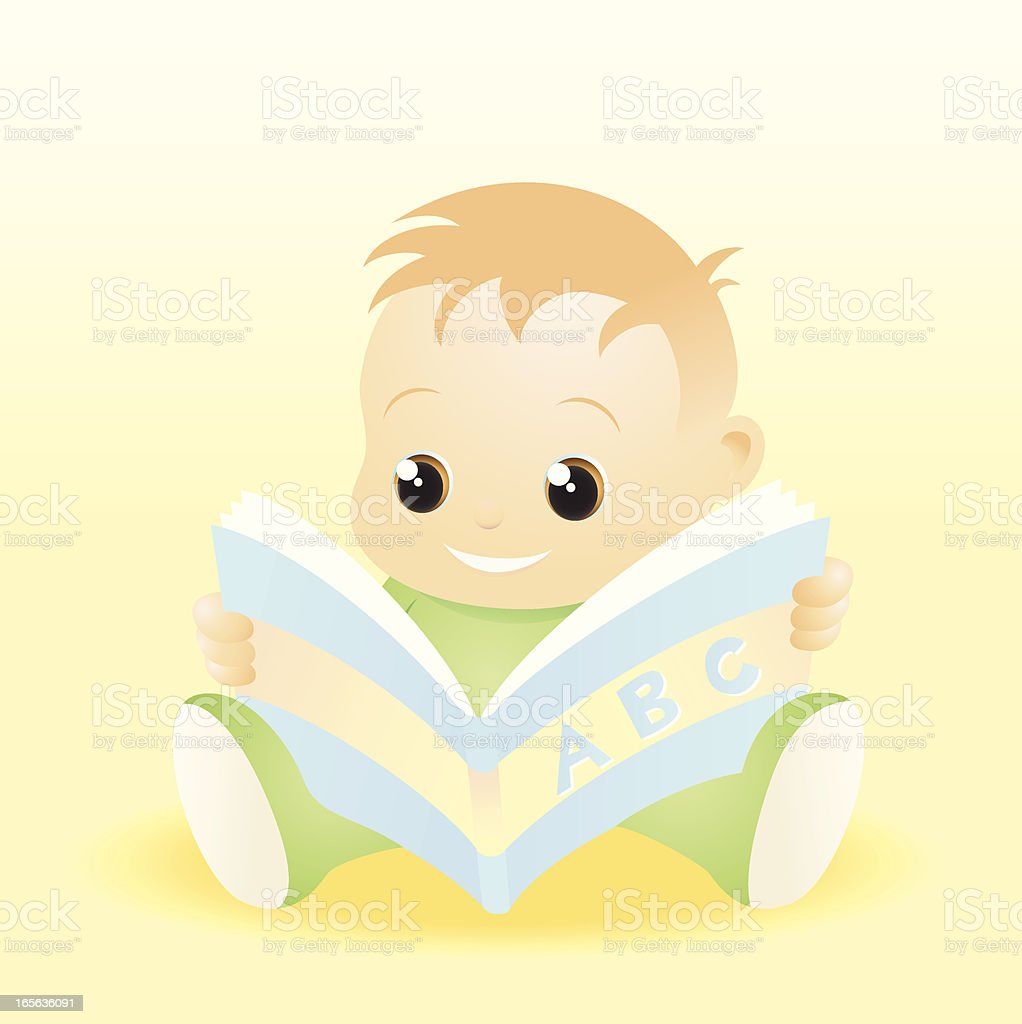 Baby looking at a picture book royalty-free stock vector art