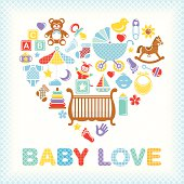 Cute baby boy icons create this colorful heart. Great for a baby shower.