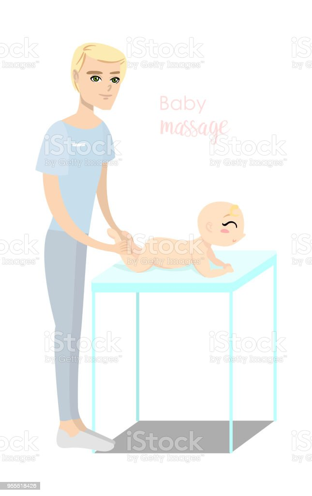 Baby massage for children. Flat isolated vector illustration. vector art illustration