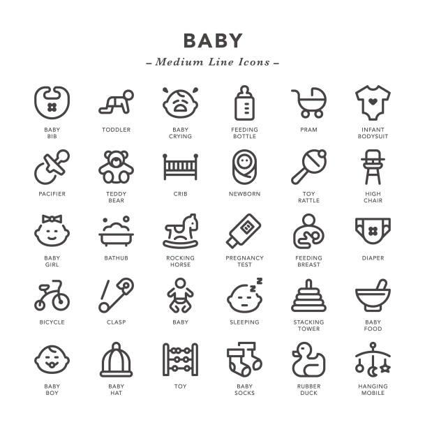 ilustraciones, imágenes clip art, dibujos animados e iconos de stock de bebé-línea media iconos - planificación familiar