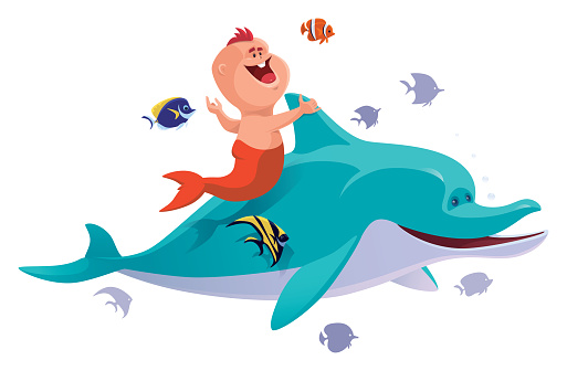 baby mermaid with dolphin and tropical fishes