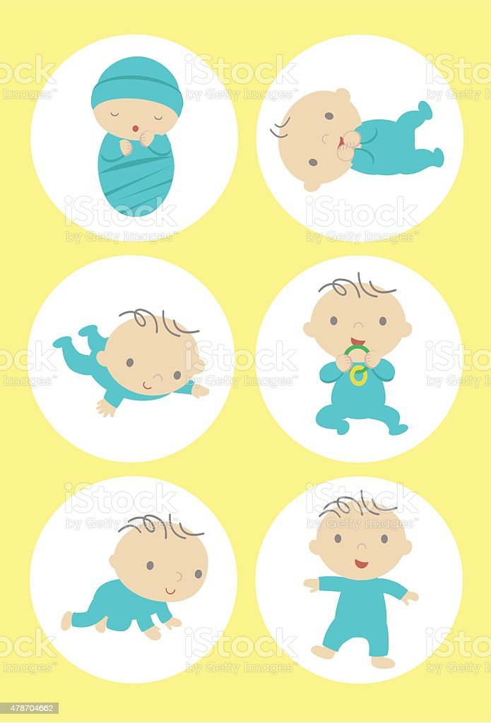 Baby Milestones vector art illustration
