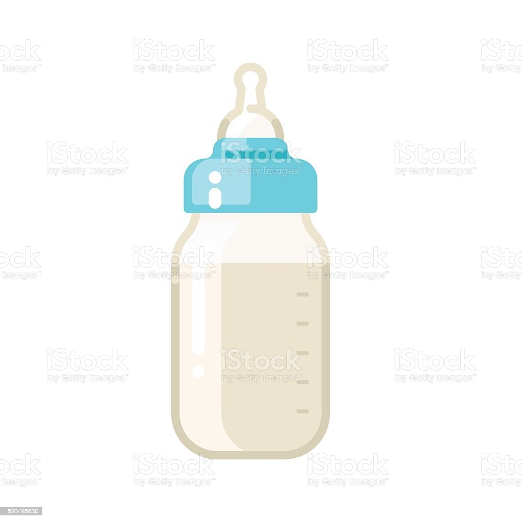 Baby milk bottle icon vector art illustration
