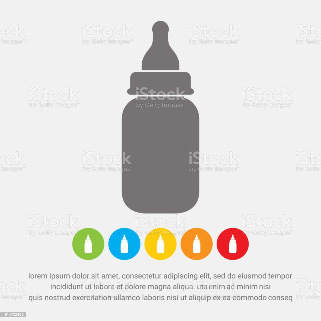 Baby milk bottle icon, vector vector art illustration