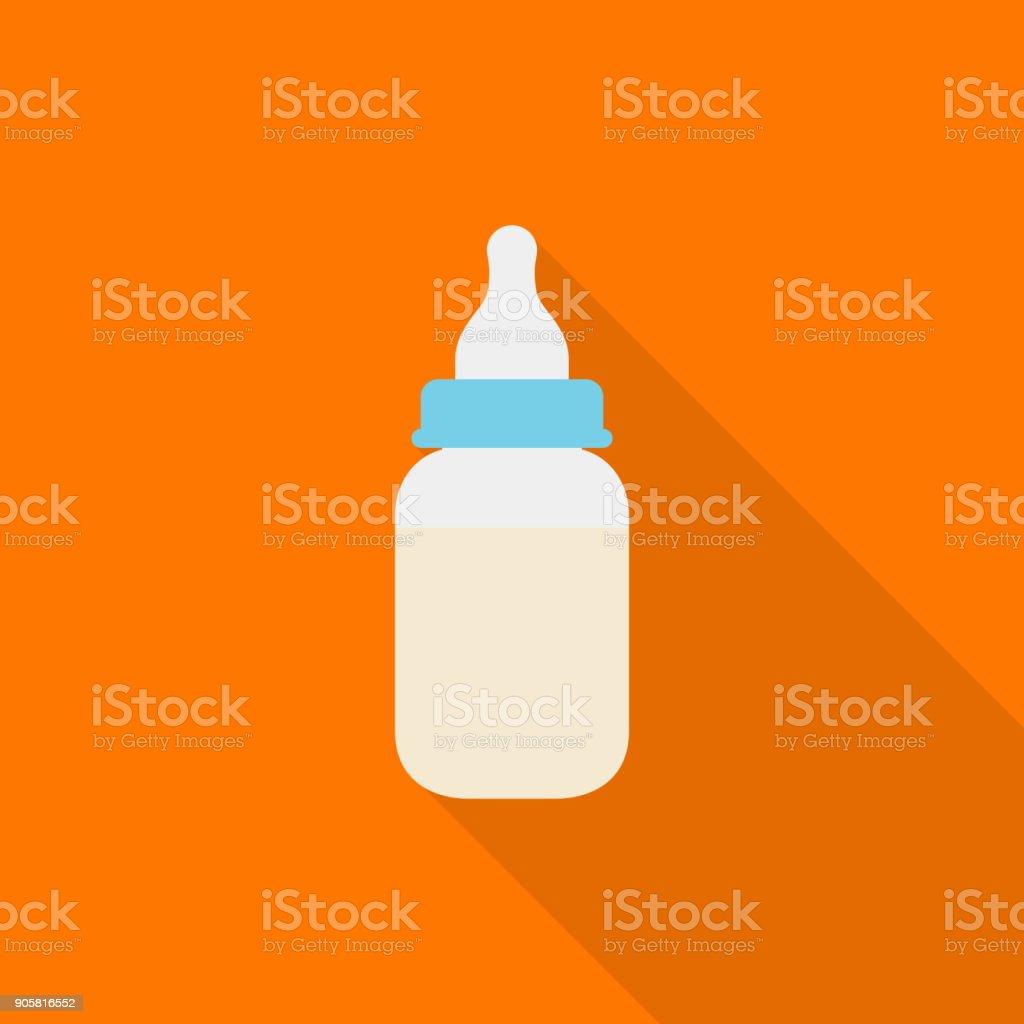 Icône de bouteille de lait bébé à grandissime sur fond orange, style design plat - Illustration vectorielle