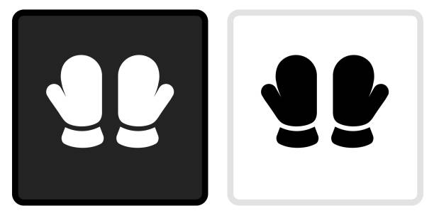 Baby Mittens Icon on  Black Button with White Rollover vector art illustration