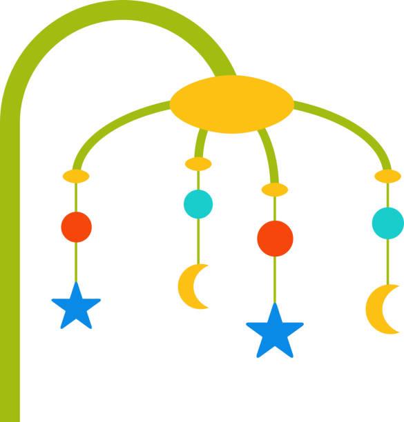 ilustrações, clipart, desenhos animados e ícones de móveis em design plano de bebê. ilustração de desenho vetorial. - mobile