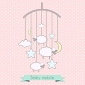 Baby mobile with little lambs, stars, moon and clouds. Baby shower invitation, template for scrapbooking, cards. Vector illustration.