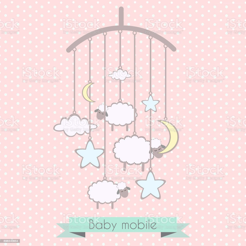 Baby mobile with little lambs and clouds vector art illustration