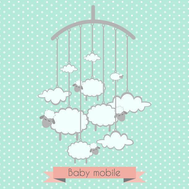 ilustrações, clipart, desenhos animados e ícones de bebé móvel com pequenos cordeiros e nuvens - mobile