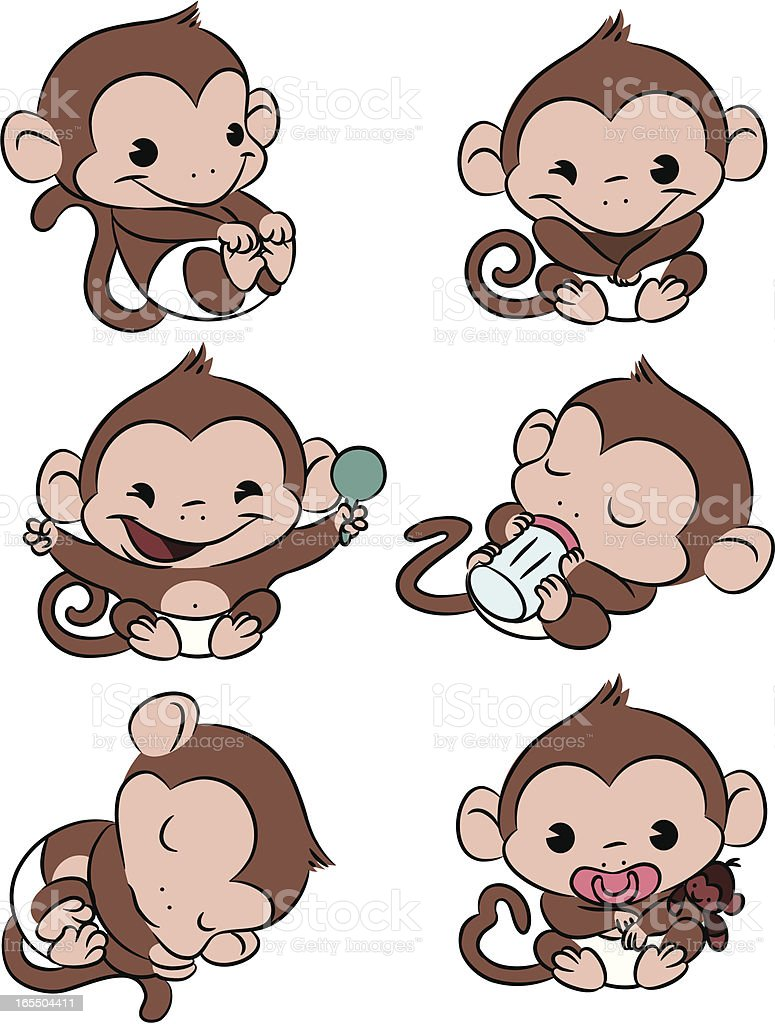 Baby Monkey Time! royalty-free baby monkey time stock vector art & more images of animal