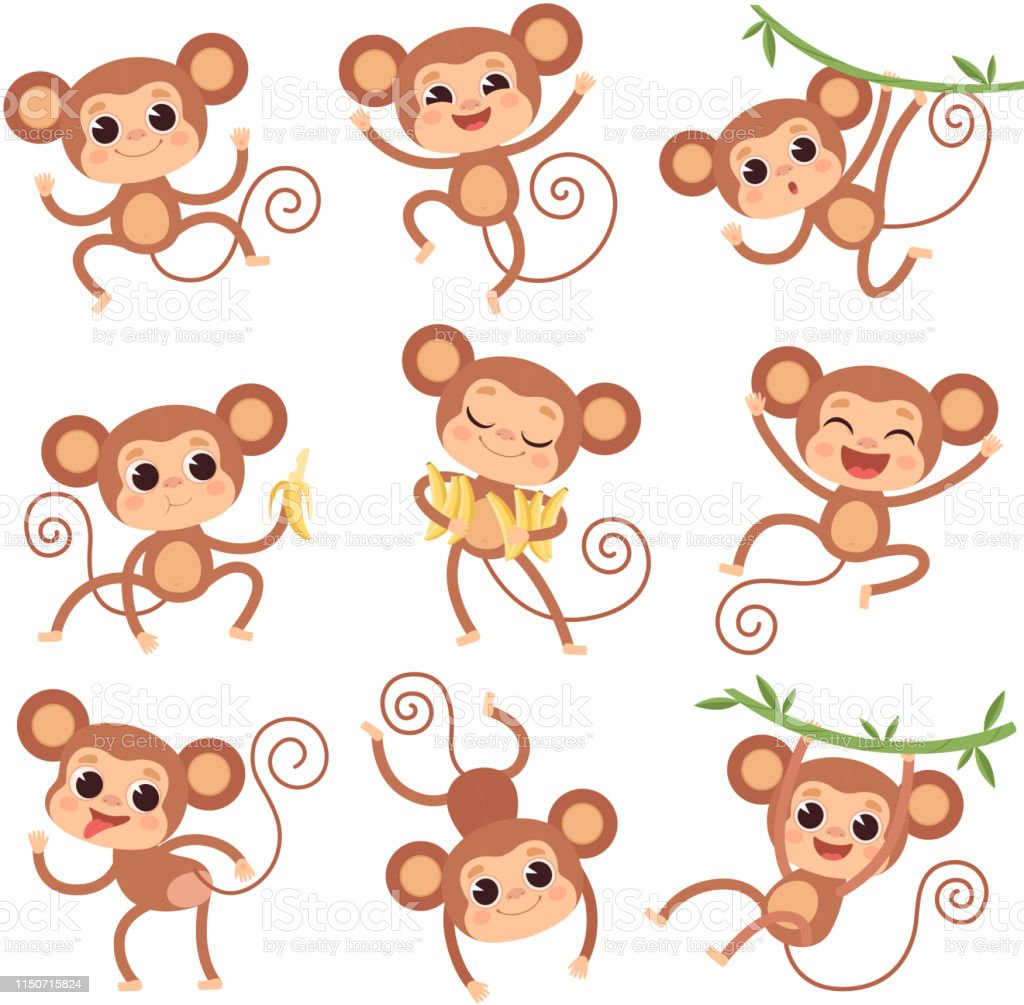Vetores De Macaco Do Bebe Animais Selvagens Dos Desenhos Animados