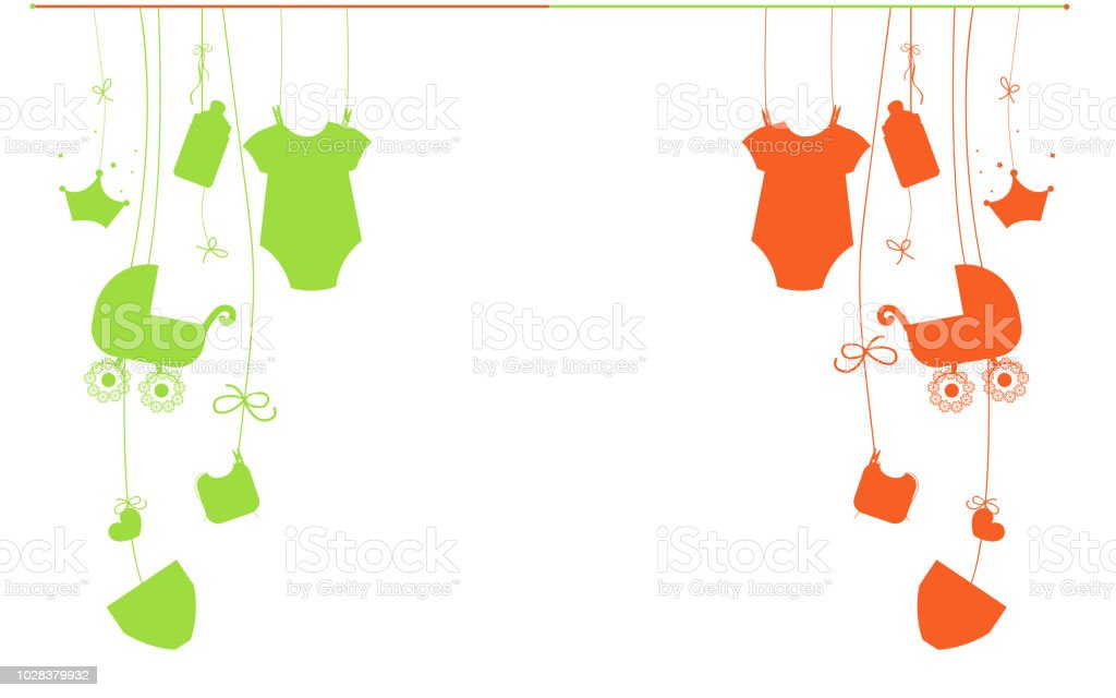 Baby New Born Hanging Baby Boy And Baby Girl Symbols Stock Vector