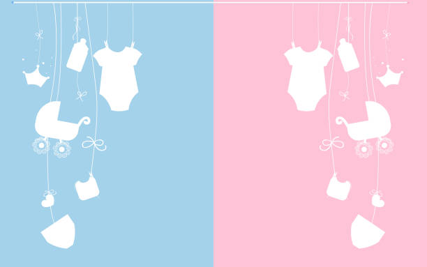 baby newborn hanging baby boy baby girl symbols pink, blue - chłopcy stock illustrations