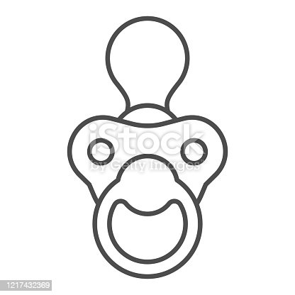Baby nipple thin line icon. Child silicone dummy outline style pictogram on white background. Babys dummy or pacifier for mobile concept and web design. Vector graphics