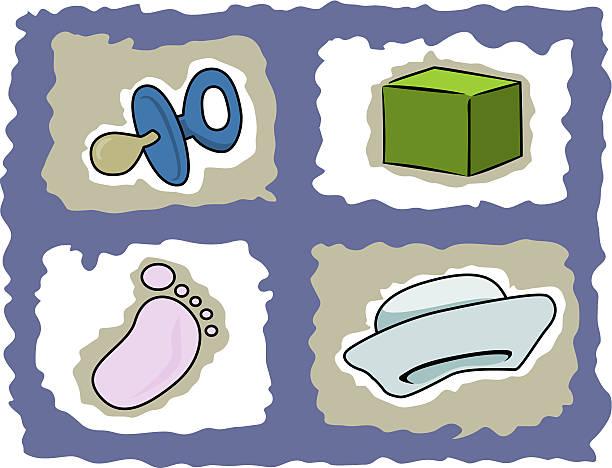 baby gegenstände - matrosenmütze stock-grafiken, -clipart, -cartoons und -symbole