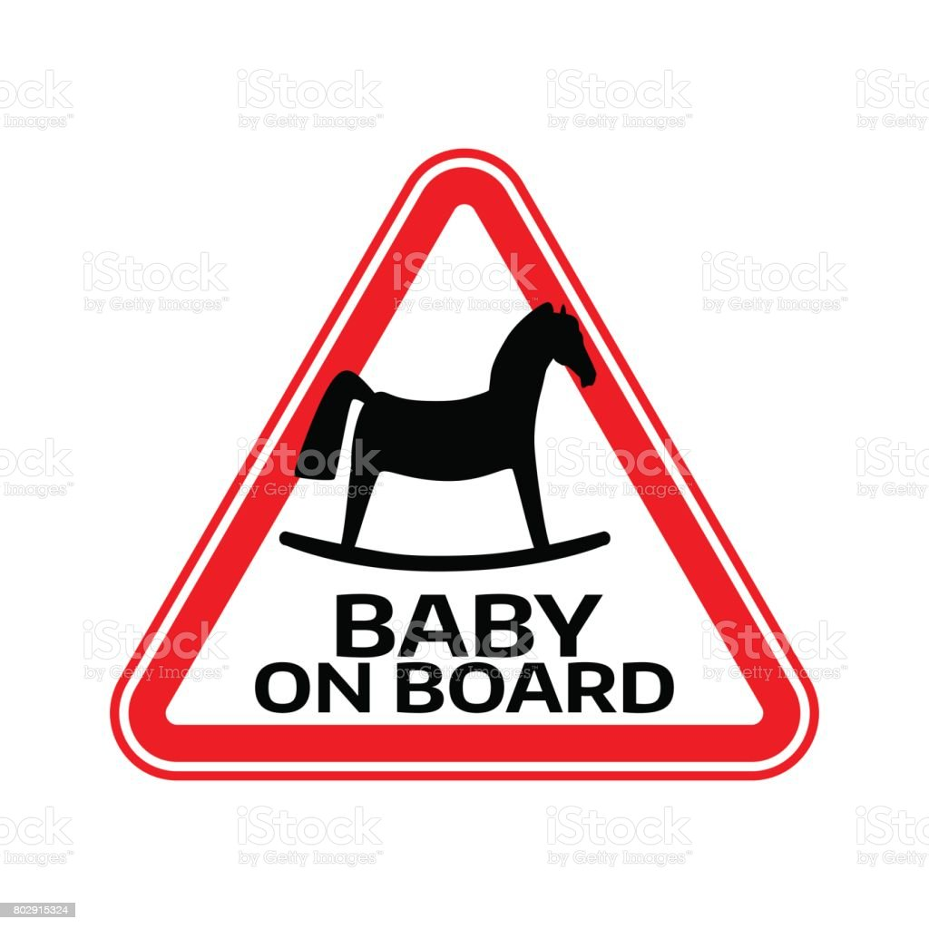 Baby On Board Sign With Child Horse Silhouette In Red Triangle On A