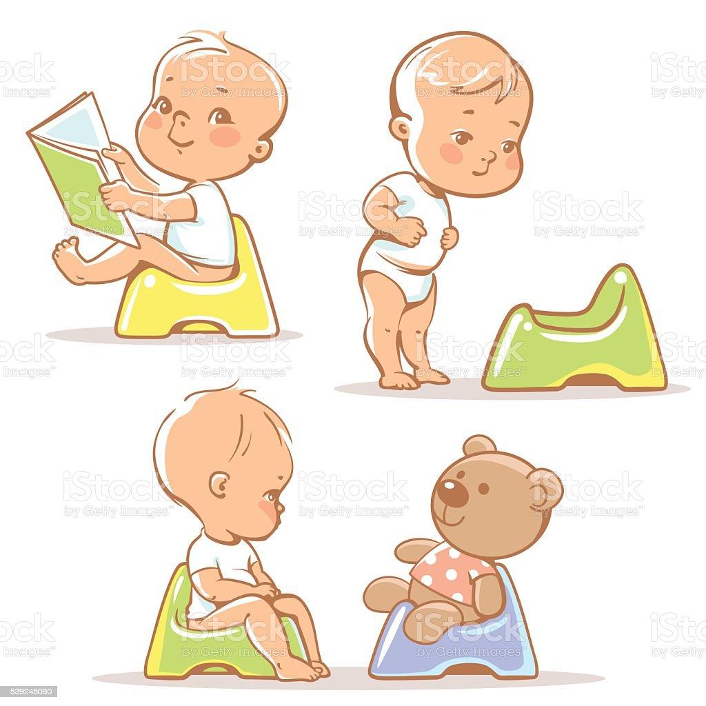 Baby on potty. vector art illustration