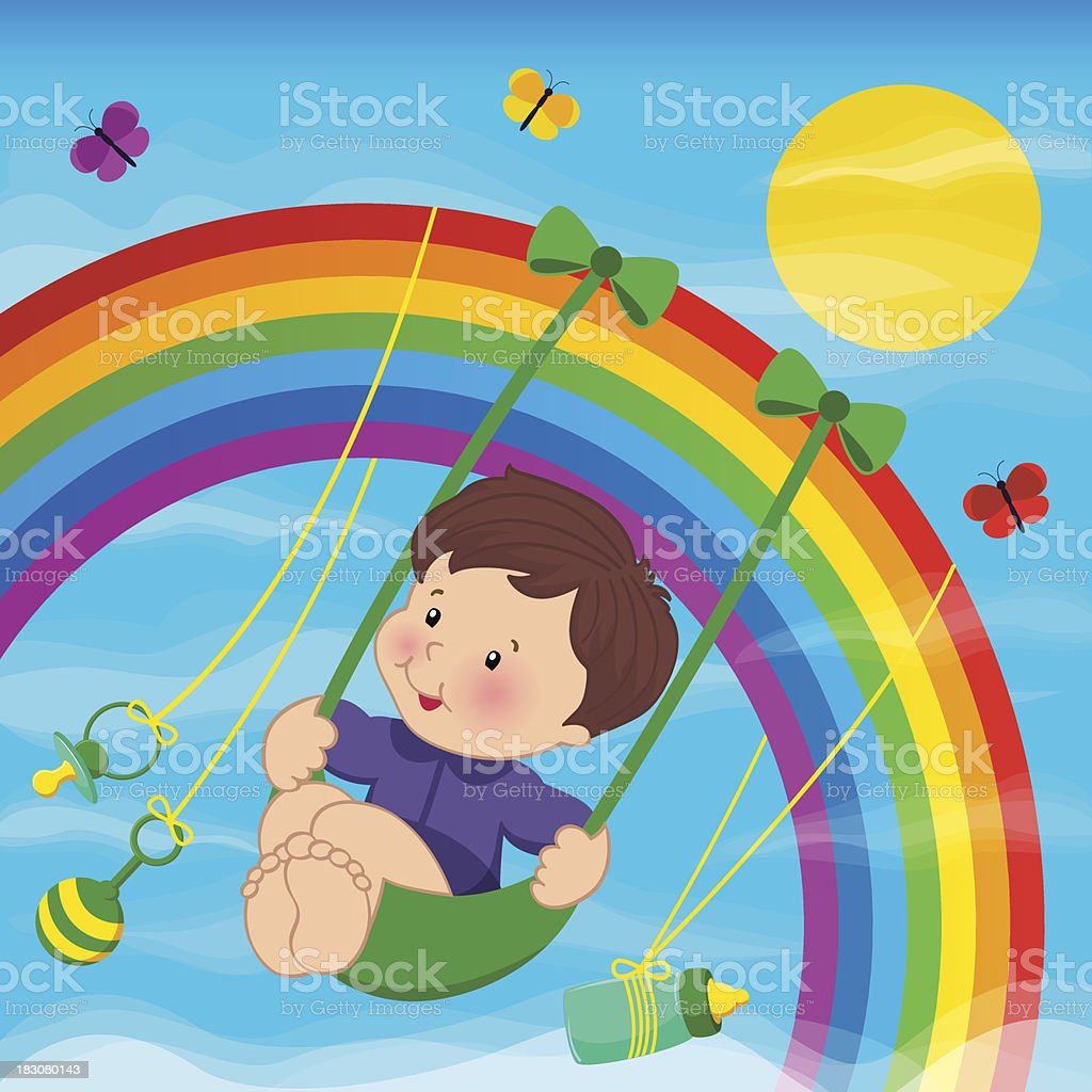 Baby on the rainbow royalty-free stock vector art