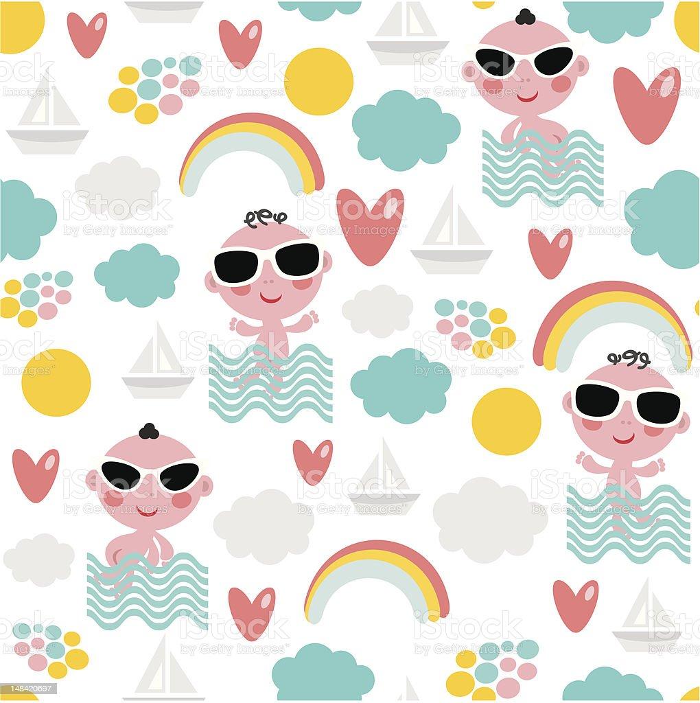 Patrón Sin Costuras Bebé En Vacaciones - Arte vectorial de stock y ...