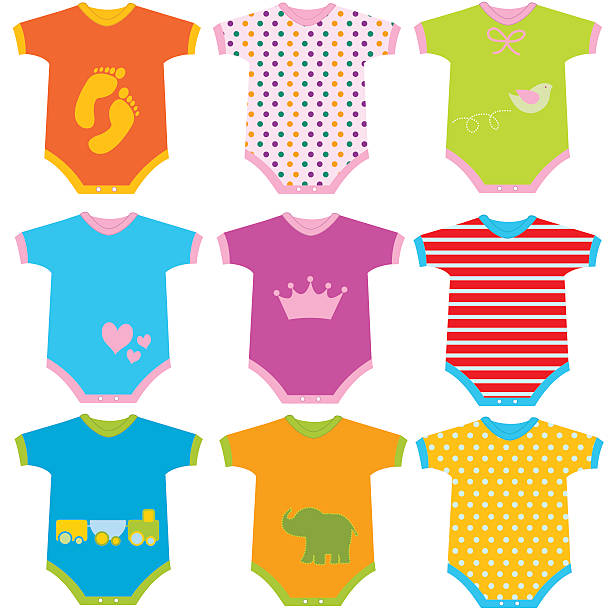 Baby Onesies Vector Illustration Baby Onesies Vector Illustration baby clothing stock illustrations